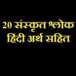 विद्यार्थियों हेतु 20 संस्कृत श्लोक हिंदी अर्थ सहित