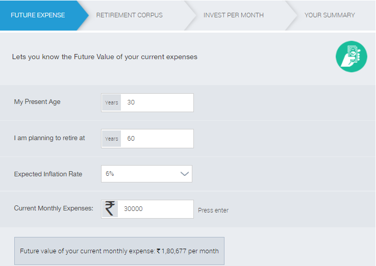 Retirement Planning in Hindi Calculator