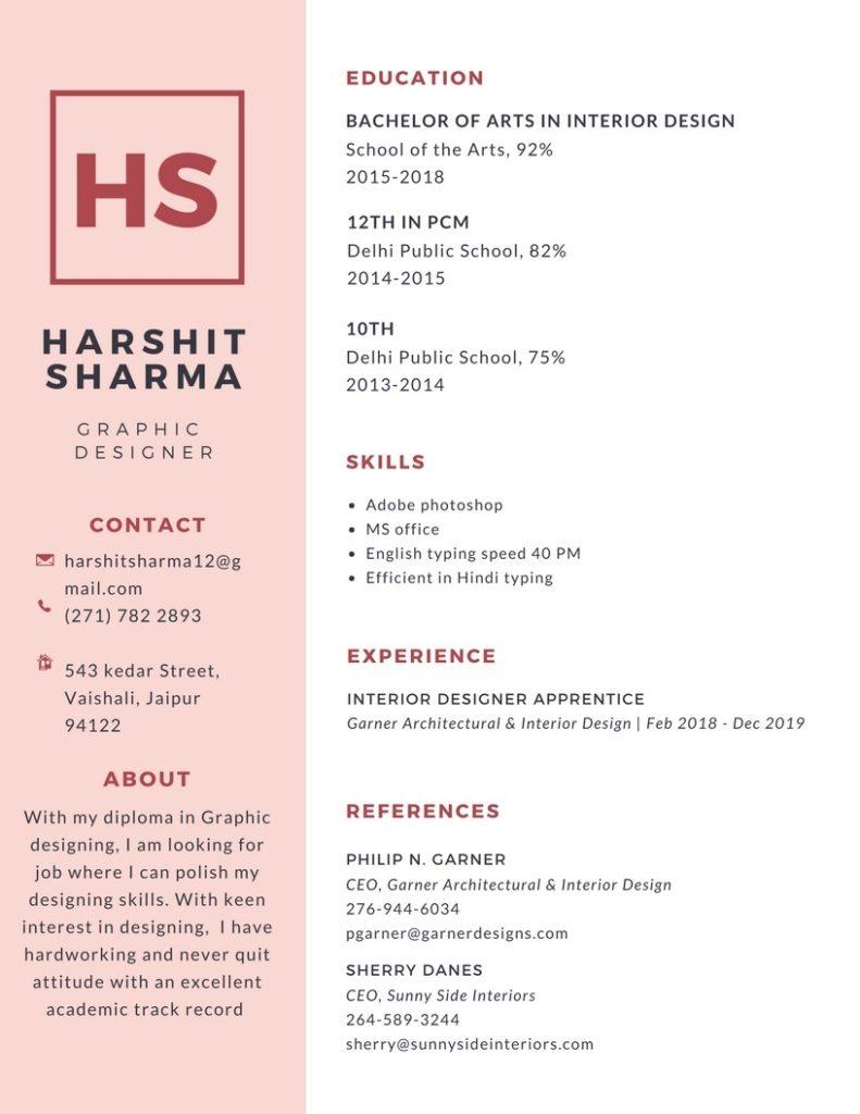 How to make resume cv in Hindi