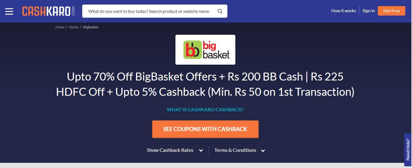 BigBasket Cashkaro Offer