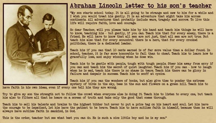 Abraham Lincoln Letter To School Headmaster Teacher in Hindi