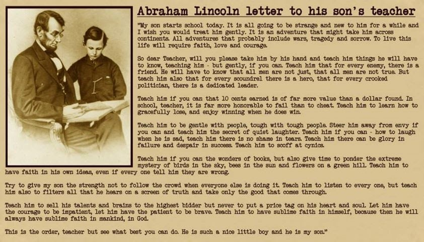 Abraham Lincoln Letter To School Headmaster Teacher in Hindi